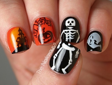 Halloween-Nail-Art-Skeleton